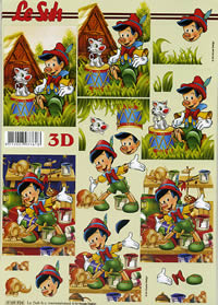 3D Bogen Pinocchio mit Hund - Format A4