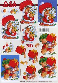 3D Bogen Weihnachtsb?r mit Geschenken - Format A4