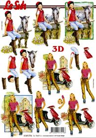 3D Bogen Format A4 - Mädchen mit Pferd