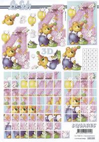 3D Bogen 4.Geburtstag Squares - Format A4