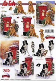 3D Bogen Weihnachtsbriefkast mit Hund - Format A4