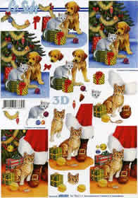 3D Bogen Weihnachtsbaum mit Hund - Format A4