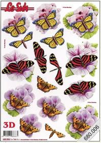 3D Bogen gestanzt - Schmetterlinge Format A4