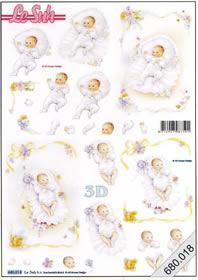3D Bogen gestanzt 2x Baby - Format A4