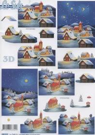 3D Bogen gestanzt Dorf im Winter - Format A4