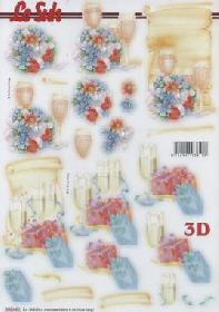 3D Bogen gestanzt Champagner Party - Format A4