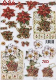 3D Bogen gestanzt Weihnachtsstern rot/weiß - Format A4