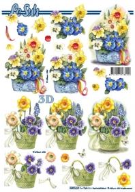 3D Bogen gestanzt Blumen im Topf Format A4