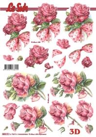 3D Bogen gestanzt Format A4 - Rosen mit Schleife