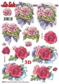 3D Bogen gestanzt Format A4 - Rosen und Dahlien