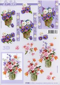 3D Bogen Blumen in der Vase Format A4