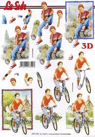 3D Bogen Junge auf Fahrrad - Format A4