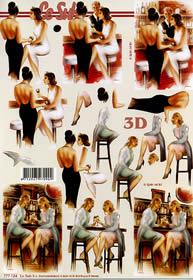 3D Bogen - Damen in der Bar/ Cafe Format A4
