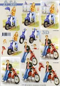 3D Bogen Mädchen am Roller Format A4