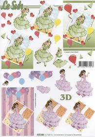 3D Bogen Format A4 - Mädchen im Kleid