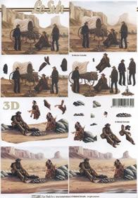3D Bogen Format A4 Cowboys + Indianer