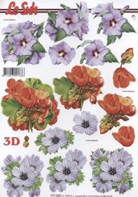 3D Bogen Format A4- Blumen