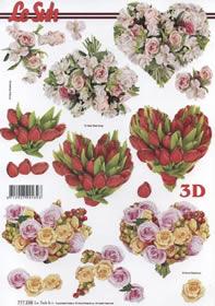 3D Bogen 3 Blumenherzen - Format A4
