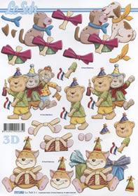 3D Bogen 3x Partytiere - Format A4