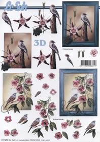3D Bogen Format A4 Rahmen mit V?gel/Blumen