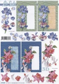 3D Bogen Format A4-Blumen auf Karte