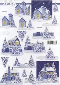 3D Bogen Format A4-Häuser blau