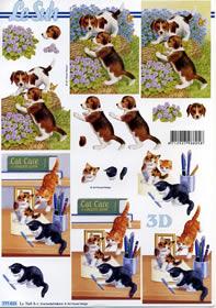 3D Bogen Katze und Hund - Format A4
