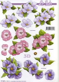 3D Bogen 3x Blumen Format A4