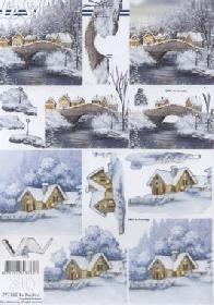 3D Bogen Winterlandschaft+Br?cke - Format A4