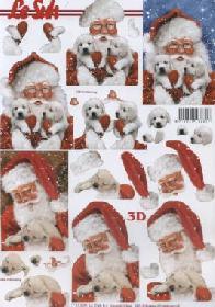 3D Bogen Weihnachtsmann mit Hund - Format A4