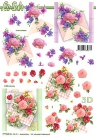 3D Bogen Blumen und Umschlag Format A4