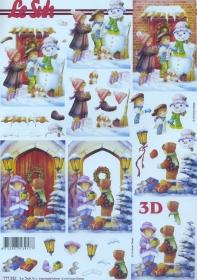 3D Bogen Kinder und Schneemann