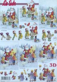 3D Bogen Weihnachtsmann und Kinder