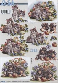 3D Bogen Katzen+Hund  - Format A4