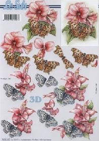 3D Bogen Schmetterlinge+Blumen - Format A4