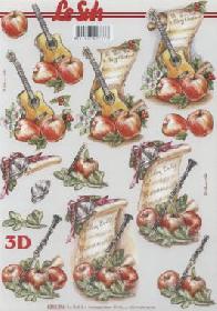 3D Bogen Gitarre+Klarinette+Noten - Format A4