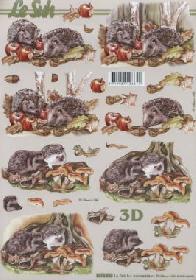 3D Bogen Igel im Laub - Format A4