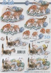 3D Bogen Katzen mit Wolle - Format A4
