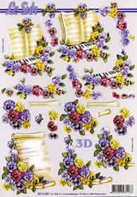 3D Bogen Blumen+Notenblatt - Format A4