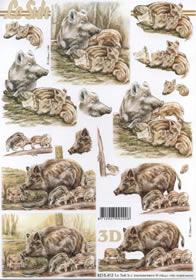3D Bogen Wildschwein mit Frischlinge - Format A4