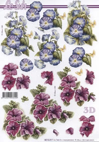 3D Bogen 2x Blumen rot/blau - Format A4