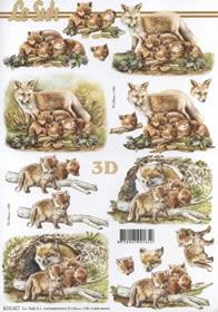 3D Bogen Fuchs mit Jungtieren - Format A4