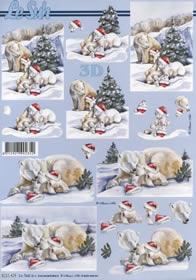 3D Bogen Weihnacht Eisbär - Format A4