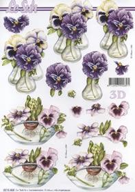 3D Bogen Blumen in der Vase - Format A4