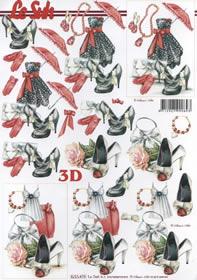 3D Bogen Frauwenblatt rot/schwarz - Format A4