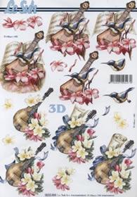 3D Bogen Instrument mit Blumen - Format A4