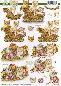 3D Bogen Weihnachtskätzchen auf Schlitte - Format A4