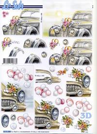 3D Bogen Hochzeitsauto - Format A4