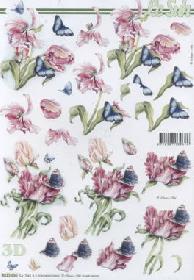 3D Bogen Tulpen mit Schmetterling - Format A4