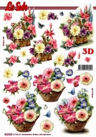 3D Bogen Blumenkorb - Format A4